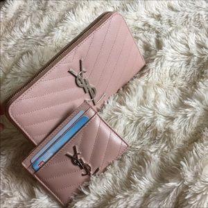Ysl full size zip around pale pink chevron wallet